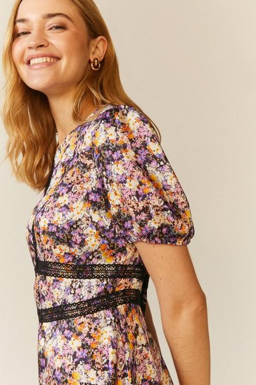 Multi Floral Lace Trim Midi Dress
