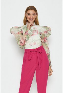 Floral Organza Volume Sleeve Top