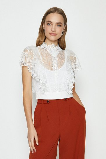 White Lace Ruffle Sleeve Top
