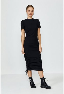 Black Ribbed Jersey Ruche Side Dress