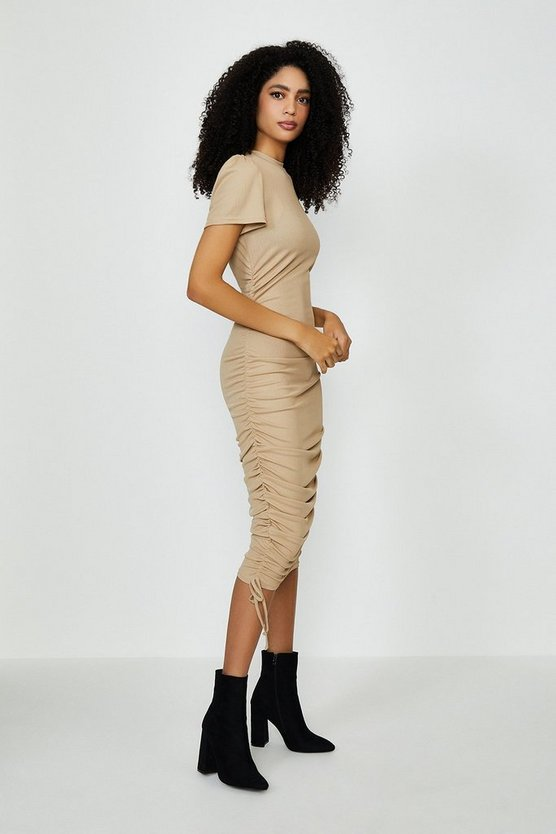 Hazelnut Ribbed Jersey Ruche Side Dress
