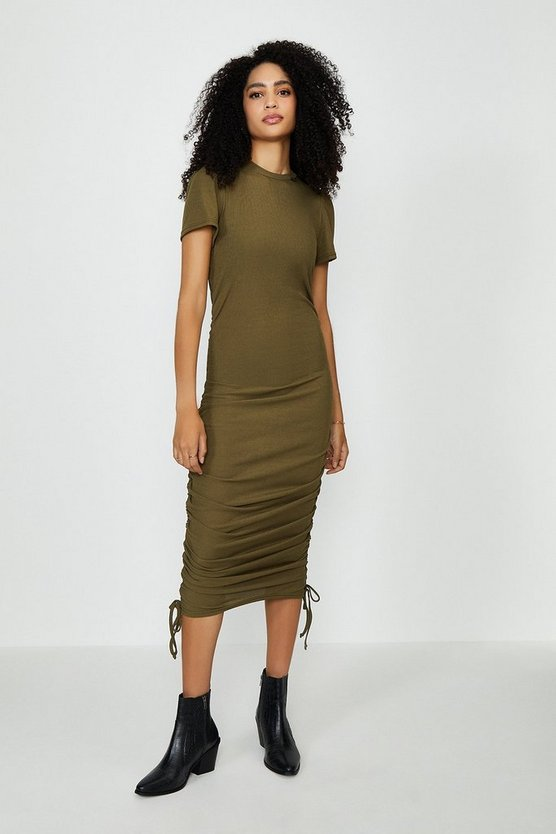 Khaki Ribbed Jersey Ruche Side Dress