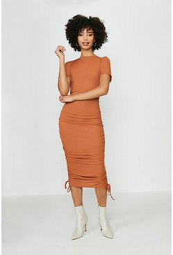 Rust Ribbed Jersey Ruche Side Dress