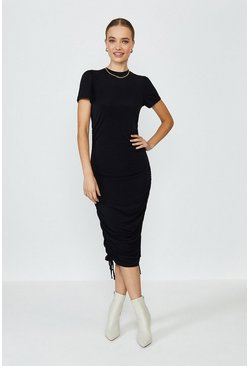 Black Slinky Jersey Ruche Side Dress
