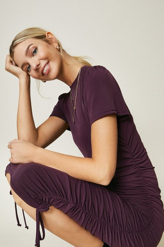 Purple Slinky Jersey Ruche Side Dress