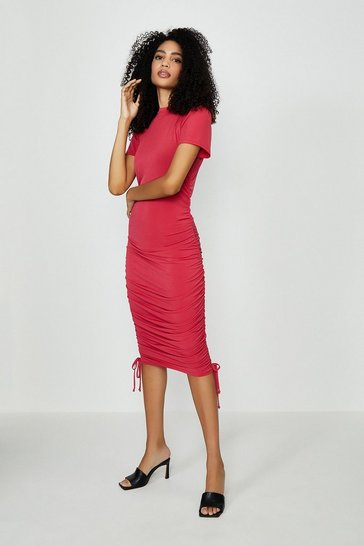 Red Slinky Jersey Ruche Side Dress