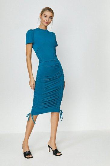 Teal Slinky Jersey Ruche Side Dress
