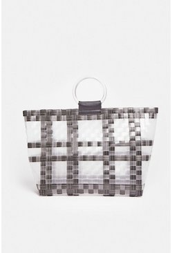 Grey Ring Handle Shopper Bag