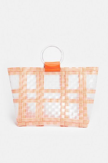 Orange Ring Handle Shopper Bag