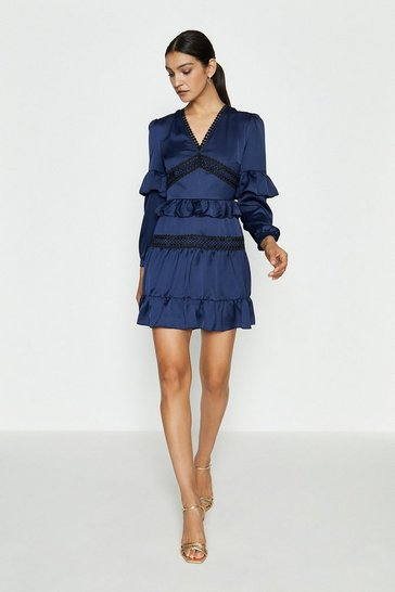 Navy Ruffle Lace And Mix Dress