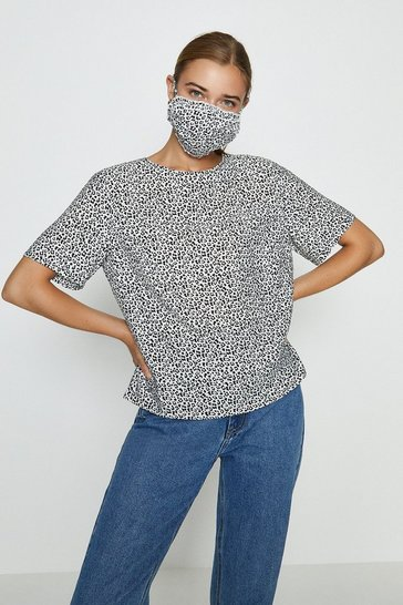 Animal Printed Woven T-Shirt And Face Covering Co-Ord Set
