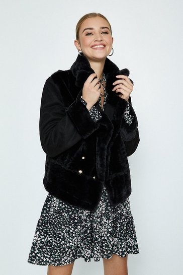 Black Faux Fur Biker Coat