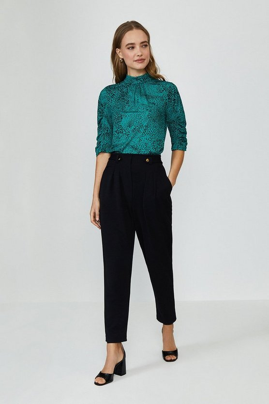 Black Button Tab Tailored Trousers