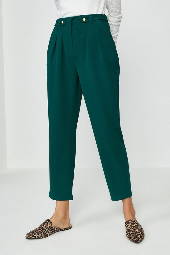 Forest Button Tab Tailored Trousers