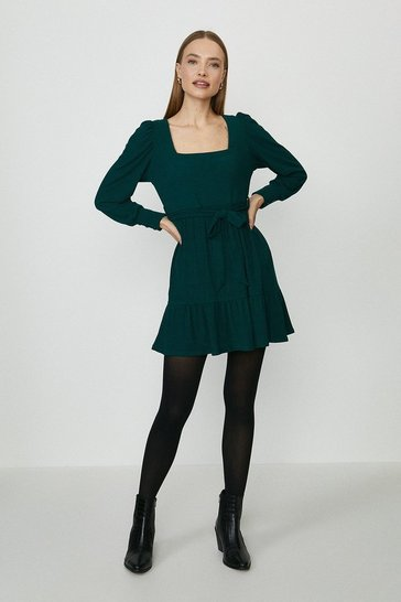 Bottle green Square Neck Flippy Hem Dress