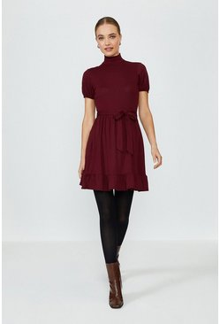 Mulberry Polo Neck Flippy Hem Dress