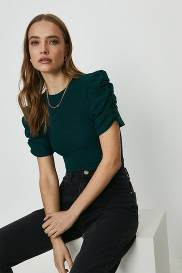 Bottle green Ruche Sleeved Ribbed Top