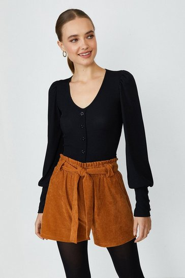Black Button Front Puff Sleeve Top