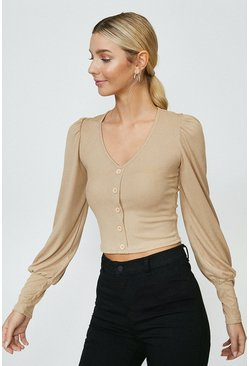 Hazelnut Button Front Puff Sleeve Top