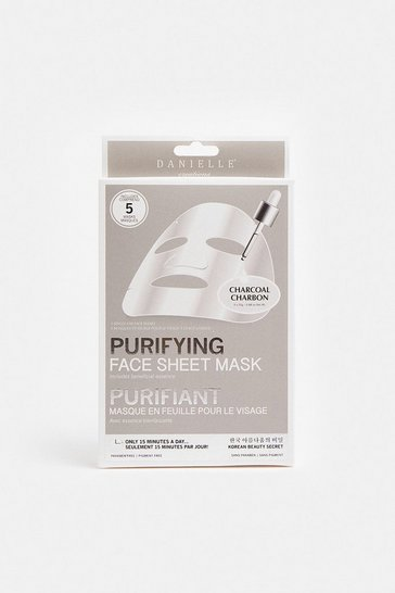 Grey 5 Pack Charcoal Purifying Sheet Face Masks