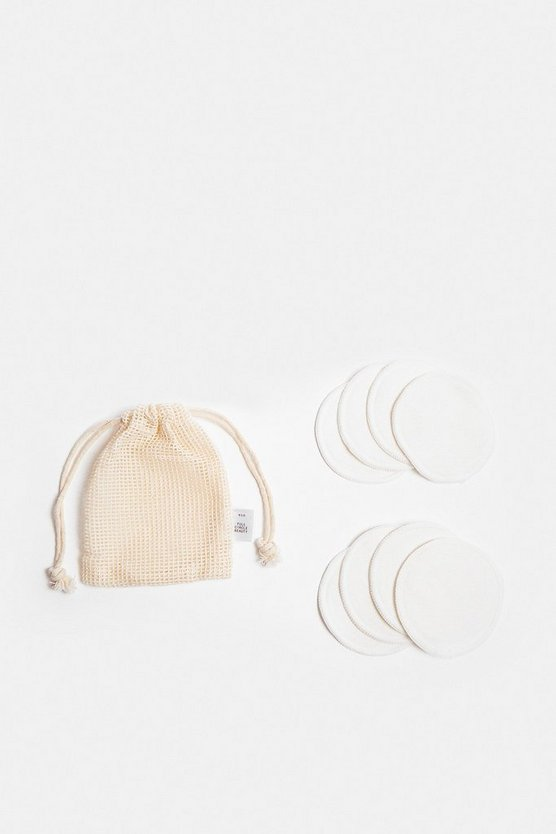 White 8 Bamboo Reusable Cotton Pads In String Pouch