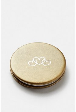 Gold Love Heart Metallic Compact Mirror