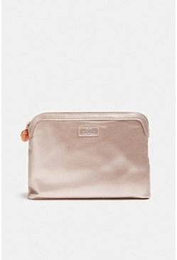 Nude Metallic Embossed Cosmetic Bag