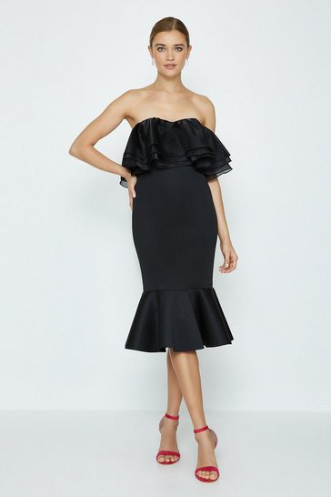 Black Organza Bardot Dress