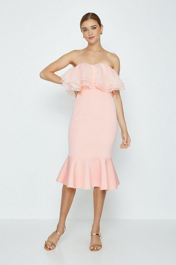 Blush Organza Bardot Dress