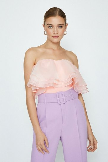 Blush Organza Bardot Top