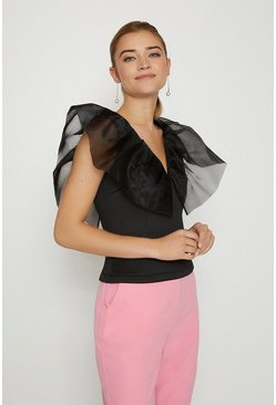 Black Organza Shoulder Ruffle Top