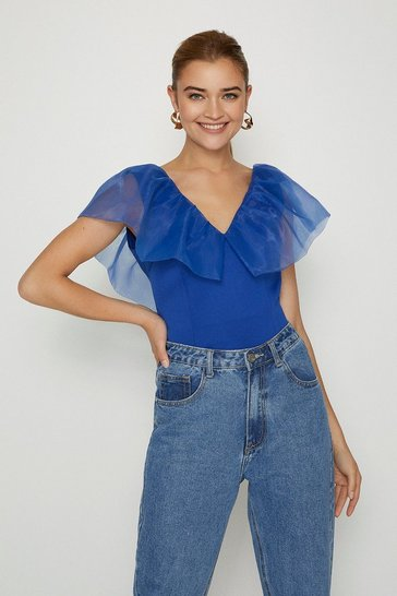 Cobalt Organza Shoulder Ruffle Top