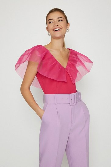 Pink Organza Shoulder Ruffle Top