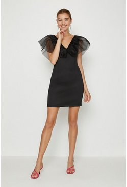 Black Organza Shoulder Ruffle Dress