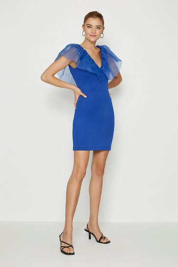 Cobalt Organza Shoulder Ruffle Dress