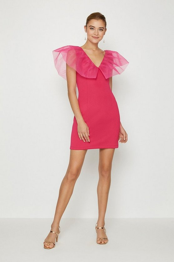 Pink Organza Shoulder Ruffle Dress