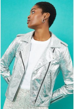Silver Metallic Biker Jacket