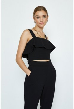 Black Co-ord Square Neck Tiered Top