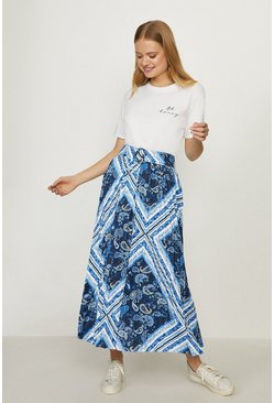 Blue Printed Pleated Midi Skirt