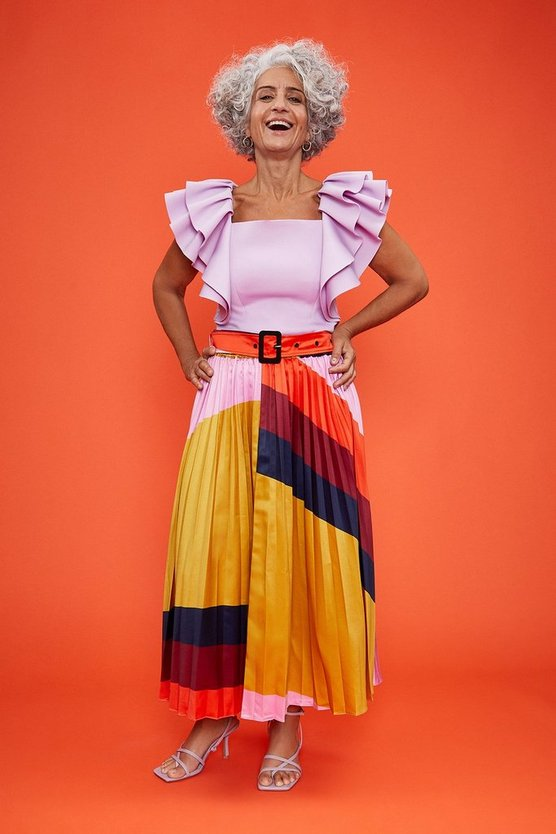 Multi Printed Pleated Midi Skirt