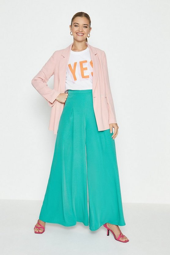 Teal Wide Leg Trouser