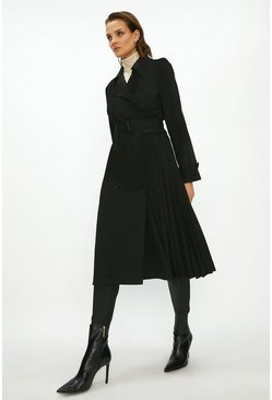 Black Pleated Trench Coat