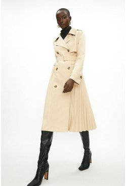 Stone Pleated Trench Coat