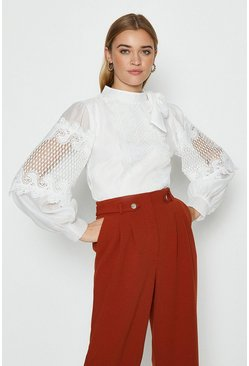 Ivory Tie Neck Lace Detail Blouse