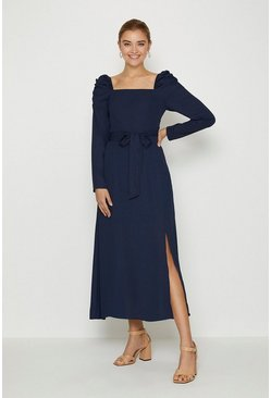Navy Square Neck Long Sleeve Midi Dress