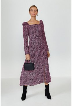 Animal Square Neck Long Sleeve Midi Dress