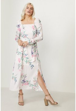 Ivory Square Neck Long Sleeve Midi Dress