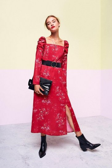 Multi Square Neck Long Sleeve Midi Dress