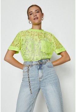 Neon-yellow Lace T-Shirt