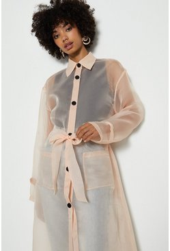Blush Belted Organza Jacket